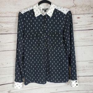 Topshop Long Sleeve Blouse Black White Size 4